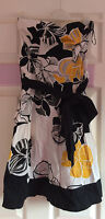 Stunning 100% Cotton New Look white & black yellow floral wrap dress size 10
