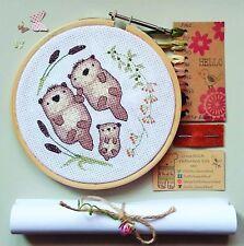 Otter Family Cross Stitch Kit, broderie kit, Needlework cadeau, cadeaux pour elle