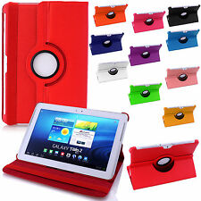 Leather Rotate Stand Case 360 Degree Rotating Smart Cover Folding Folio Flip Red Samsung Galaxy Tab 3 P3200