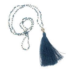 Handmade Halskette Quaste Buddha Anhänger Blau