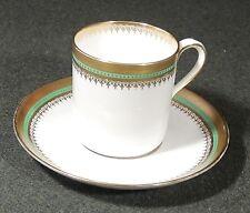 Copelands China England 9571 Green & Gilt Edge Demitasse Espresso Cup & Saucer