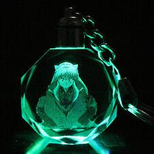 Inuyasha Colorful Crystal Key Chain LED Light Pendant Keyring New in gift Box