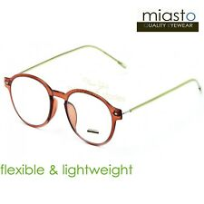 MIASTO ROUND PREPPY READER READING GLASSES+1.00 ULTRA LIGHT & FLEXIBLE (BROWN)