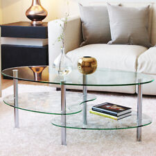 "Ryan Rove Ashley 38"" Oval Two Tier Clear Glass Coffee Table Under Glass Storage"