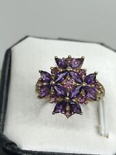 Estate 10K Yellow Gold 25 Natural Marquise Purple Amethyst Flower Ring