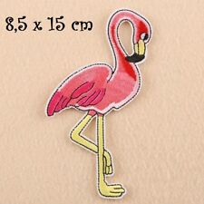 OISEAU FLAMANT ROSE ** 8,5 x 15 cm ** APPLIQUE ÉCUSSON PATCH BRODÉ THERMOCOLLANT