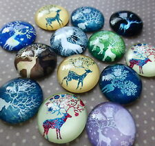 20 pcs  Glass Domed Round Cabochons DEER, mix pattern, size 20mm