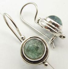 925 Sterling Silver GREEN APATITE RETRO STYLE Oxidized PIERCED Earrings 2.4 CM