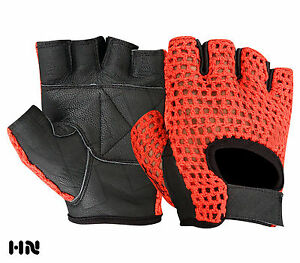 MESH LEATHER WEIGHT LIFTING PADDED GLOVES FITNESS CYCLING GYM CYCLE RETRO FUNKY
