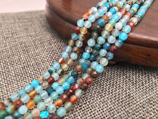 """Natural 4mm Faceted blue dragon vein agate Round Gemstone Loose Beads 15"""" AAA"""
