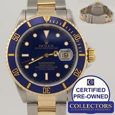 MINT Rolex Submariner 16613 X Two Tone Steel 18k Yellow Gold Blue Dive Watch N8