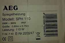 AEG SPH 110 Electric Mirror Heating Mat - 110W 230V ~ 50Hz IPX7, 0.60m x 0.75m