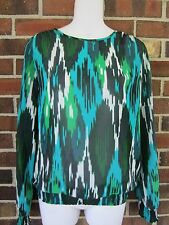 NWT Michael Kors XS Ladies Top Blouse Green White Multi $89.50 Blouson Chiffon