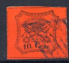 FRANCOBOLLI 1867 STATO PONTIFICIO 10 CENTESIMI VALORE USATO D/9348
