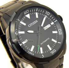 CITIZEN MEN AUTOMATIC STAINLESS STEEL BLACK ION COATED DAY DATE 50m NH8375-82E