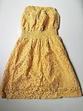 NWT Wet Seal yellow mustard crochet floral lace tube strapless dress XS