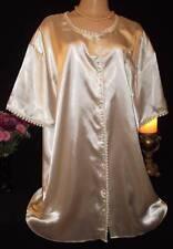 "Vintage Glossy Satin Nightgown~Rich Cream~Crochet Lace Sissy MINT B:56"""