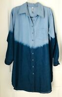 R N B Womens 1X plus size button down Blue denim Ombre Tunic Dress