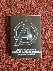 Marvel Agent Coulsons Vintage Captain America Trading Cards movie prop replica.