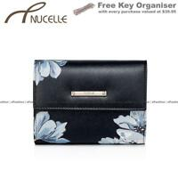Ladies Women Black Floral Small Genuine Leather Wallet Purse
