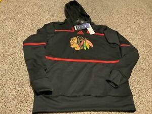 adidas Chicago Blackhawks Black/Red Hoodie GI5274 Men's Size: XL NWT