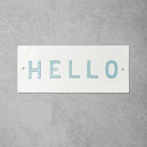 "Hearth & Hand with Magnolia 'Hello' Wall Sign, 12"" x 5"", White/Light Blue (EUC)"