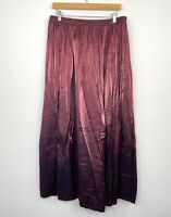 Vintage Womens Maxi Skirt Iridescent Burgundy Rayon Blend Red Size 14