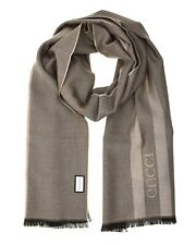Gucci Scarf Embroidered Logo 100% Wool Brown New