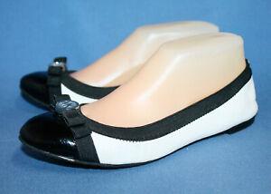 MICHAEL KORS Dixie Double Bow Ballet Flats Wo's 7M White Black Patent Leather