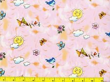 Happy Suns Blue Birds Kites & Flowers on Pink Quilting Fabric by Yard  #646