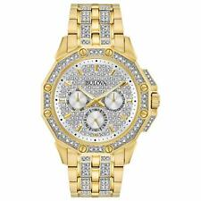 Bulova 98C126 Crystal 41.7MM Men's Gold Stainless Steel Sets of Crystal Watch