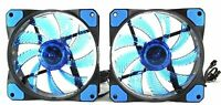 LED High Airflow Low Noise Air Cooling Fan for CPU Coolers - 2 Pack