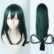 My Hero Academia Boku no Hiro Asui Tsuyu Dark Green Long Straight Cosplay Wigs