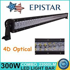 52in 300W LED Work Light Bar Spot Flood Light Off-road Driving SUV Truck 4D Lens