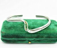 Vintage Sterling Silver bracelet statement Art Deco bangle twist Gift #N560