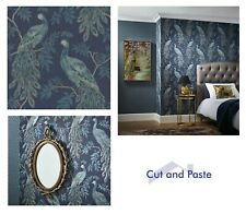 Arthouse Lazzaro Blue Texture Bird Shimmer Wallpaper, 292101 SAMPLE ONLY