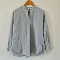 Uniqlo Women's Striped Tunic Blouse Piping Shirt Long Sleeve Size S
