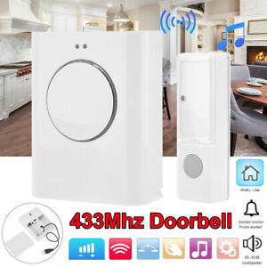 Wireless 433Mhz Ding Dong Doorbell Waterproof Music Bell 200m USB MP3 White