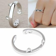Lovely Cat Ears Cuff Adjustable Titanium Steel Knuckle Pinkie Charm Ring Jewelry