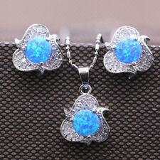 925 Silver Filled Flowers Fire Opal Earrings Ear Stud Necklace Women Jewelry Set