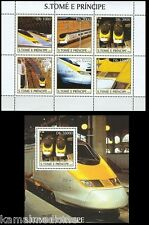 Sao Tome 2003 MNH MS+SS, Eurostar, Train, Railways Locomotives  (T5)