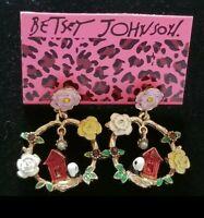 RARE Betsey Johnson rhinestone birds flowers drop earrings women fashion Jewelry