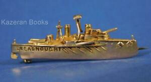 Antique WW1 British Navy 9ct Gold Dreadnought Warship Sweetheart Pin Brooch WWI