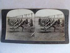 WW1 BAYONET CLASS PRACTICING THE SHORT POINT STAB WWI KEYSTONE STEREOVIEW V19219