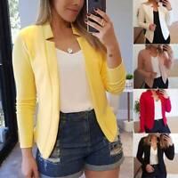 Damen Langarm Slim Blazer Jacke Anzug Formell Arbeit Strickjacke Kurzmantel Tops