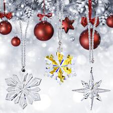Set 3 Hanging Crystal Snowflake Pendants Glass Christmas Tree Ornament Car Decor