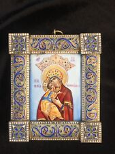 RARE Antique 19c finift enamel icon Russian SILVER 84 MADONNA of God Ovchinnikov