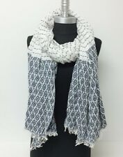 New Women's Winter Scarf Ticking Striped Oblong Shawl Wrap Pashmina Soft Navy
