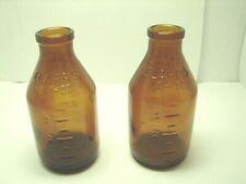Vintage lot of 2 1959 Clapps 4 OZ Amber Baby Milk Thatcher Medicine Glass Bottle
