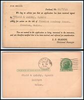 1941 US Postal Card - Portland, Maine to Field & Quimby Agents, Belfast, ME L1